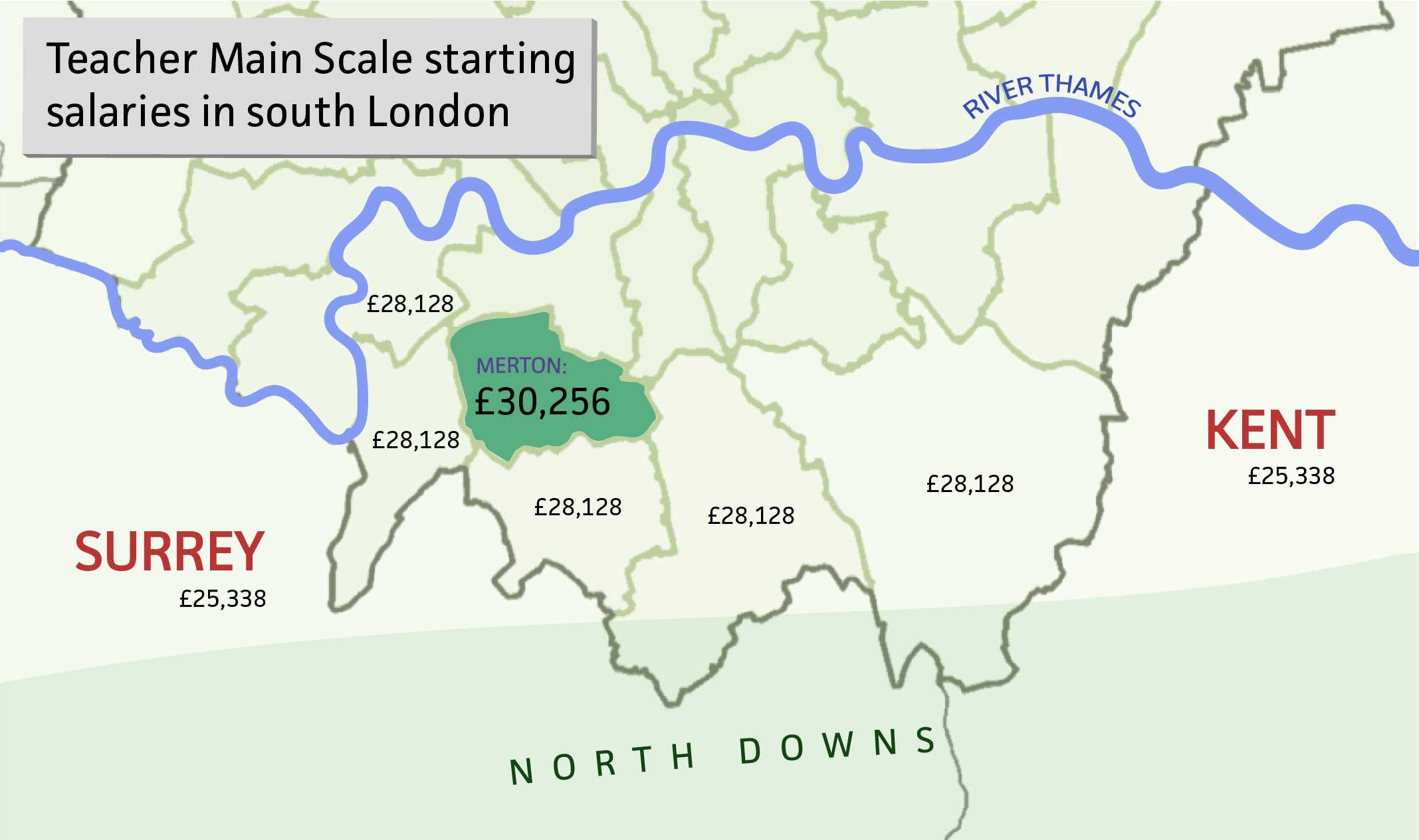 Pay map showing starting salary of £30,256 in Merton compared with lower pay in surrounding boroughs